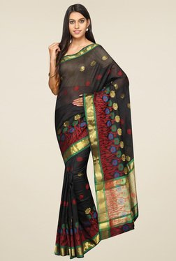 Pavecha Black Banarasi Zari Saree With Blouse
