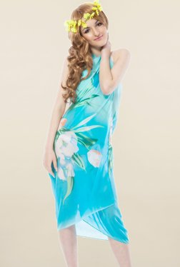 N-Gal Turquoise Floral Print Sarong