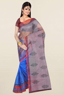 Ishin Blue & Grey Printed Art Silk Saree