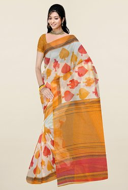 Ishin Off White Printed Art Silk Saree