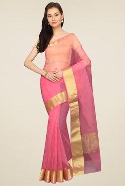 Pavecha Pink Banarasi Zari Saree With Blouse