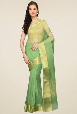 Pavecha Green Banarasi Zari Saree With Blouse