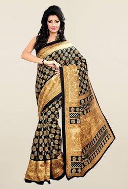 Ishin Black & Beige Printed Art Silk Saree