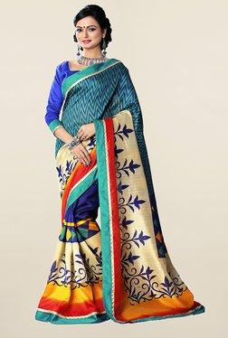 Ishin Blue & Teal Printed Art Silk Saree