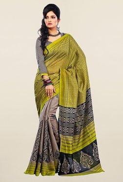 Ishin Grey & Olive Printed Art Silk Saree