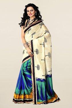 Ishin Teal & Beige Printed Art Silk Saree