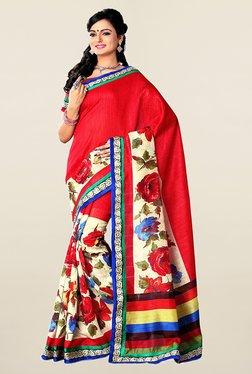 Ishin Red & Cream Floral Print Art Silk Saree