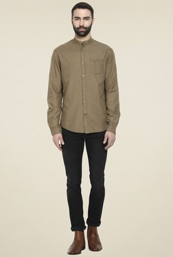 Celio* Khaki Mandarin Collar Regular Fit Shirt