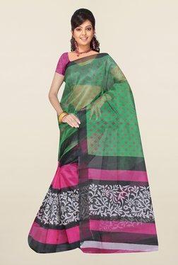 Ishin Pink & Green Printed Art Silk Saree