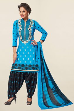 Ishin Blue & Black Embroidered Cotton Dress Material