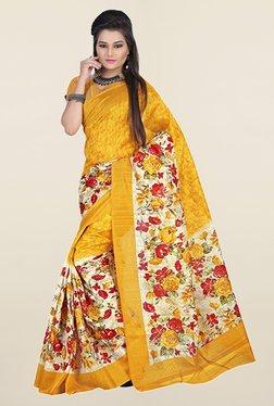 Ishin Mustard & Cream Floral Print Art Silk Saree