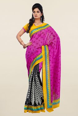 Ishin Black & Pink Printed Art Silk Saree