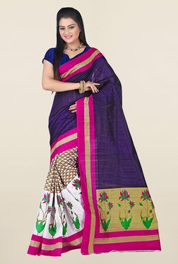 Ishin Off White & Purple Printed Art Silk Saree