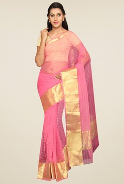 Pavecha Pink Striped Saree With Blouse