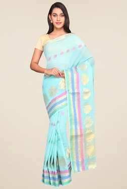 Pavecha Blue Zari Saree - Mp000000001065687