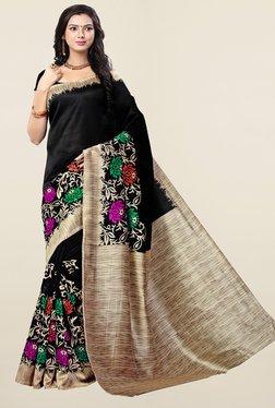 Ishin Black Floral Print Art Silk Saree