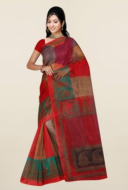 Ishin Red & Beige Printed Art Silk Saree