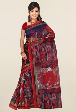 Ishin Red & Navy Printed Art Silk Saree
