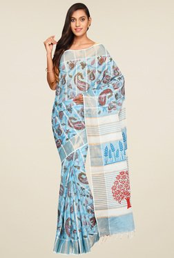 Pavecha Blue Floral Saree