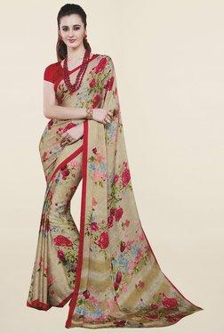 Ishin Beige Floral Print Satin Silk Saree - Mp000000001065944