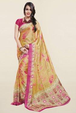 Ishin Beige Floral Print Satin Silk Saree - Mp000000001065959