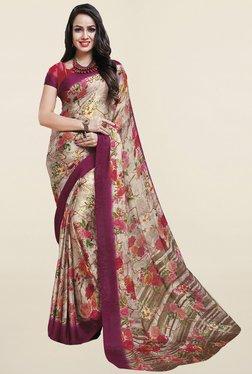 Ishin Beige Floral Print Satin Silk Saree - Mp000000001066034