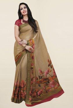 Ishin Beige Floral Print Satin Silk Saree