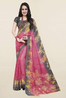 Ishin Pink Floral Print Satin Silk Saree