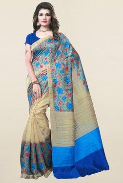 Ishin Beige Floral Print Art Silk Saree