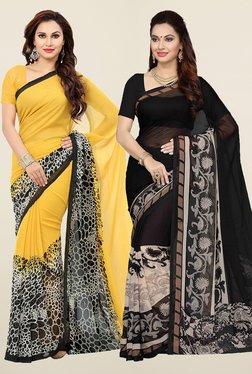 Ishin Yellow & Black Faux Georgette Saree (Pack Of 2)