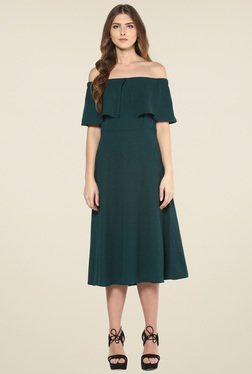 Femella Dark Green Off Shoulder Midi Dress