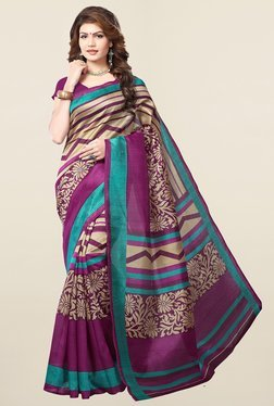 Ishin Beige & Purple Printed Art Silk Saree