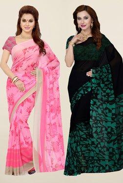 Ishin Pink & Black Printed Faux Georgette Saree (Pack Of 2)