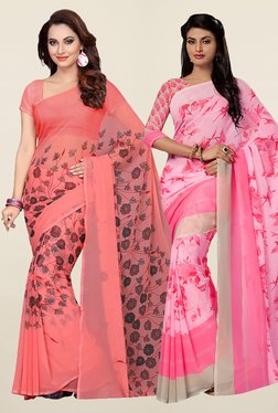 Ishin Peach & Pink Faux Georgette Saree (Pack Of 2) - Mp000000001066451