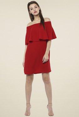 Femella Red Ruffle Peplum Dress