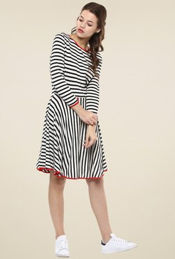 Femella Black & White Striped Dress