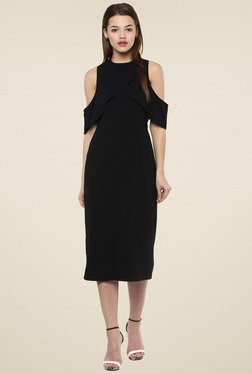 Femella Black Regular Fit Midi Dress