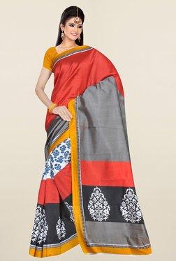 Ishin Grey & Rust Printed Art Silk Saree