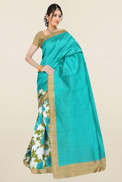 Ishin Off White & Turquoise Floral Print Art Silk Saree