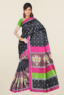 Ishin Black & Purple Printed Art Silk Saree