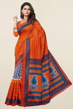 Ishin Orange Geometric Print Art Silk Saree