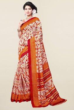 Ishin Off White & Orange Printed Art Silk Saree