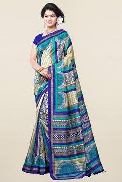 Ishin Beige & Blue Printed Art Silk Saree