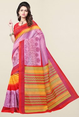 Ishin Purple Printed Art Silk Saree
