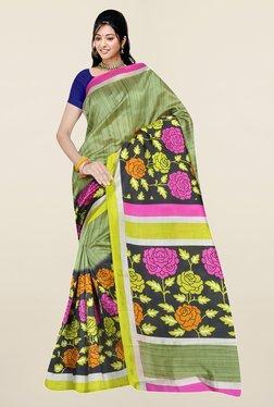 Ishin Olive & Black Floral Print Art Silk Saree