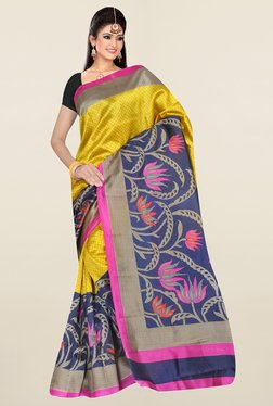 Ishin Yellow & Navy Floral Print Art Silk Saree