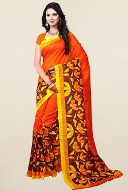 Ishin Orange Printed Art Silk Saree - Mp000000001066554