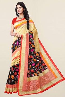 Ishin Beige & Black Floral Print Art Silk Saree