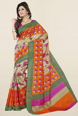 Ishin Beige & Orange Floral Print Art Silk Saree