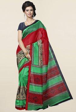 Ishin Green & Red Printed Art Silk Saree